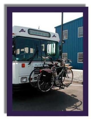 Bikes on rack attached to bus
